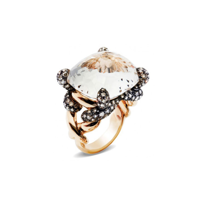 Ring in rose gold with white topaz and brown diamonds