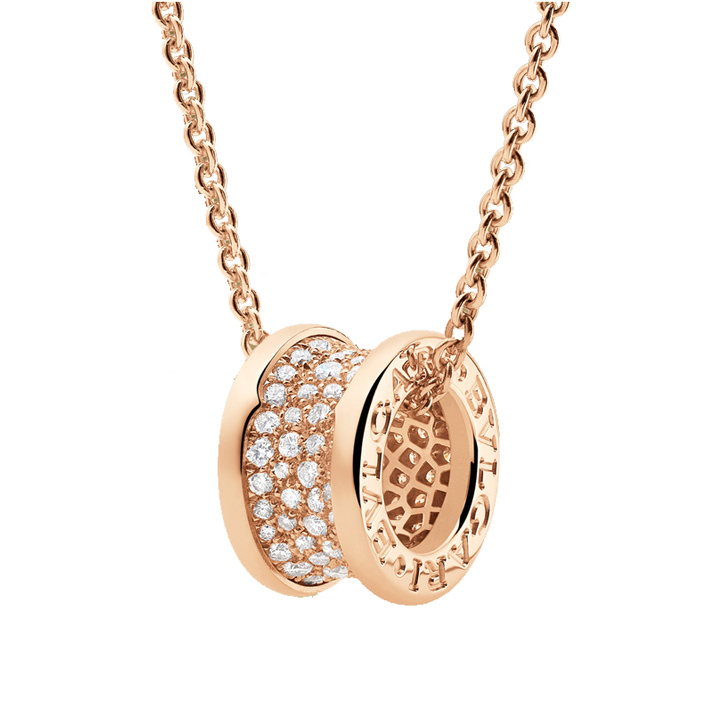 Necklace with Pendant in Pink Gold and Diamonds