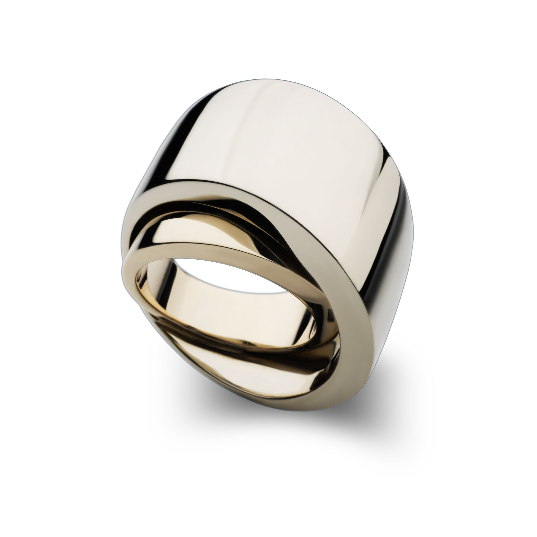 vhernier anello tourbillon destro oro rosa e bianco