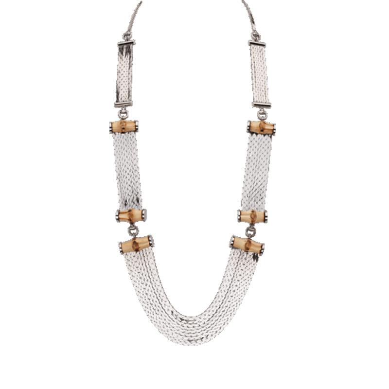 Gucci collana in argento e bamboo