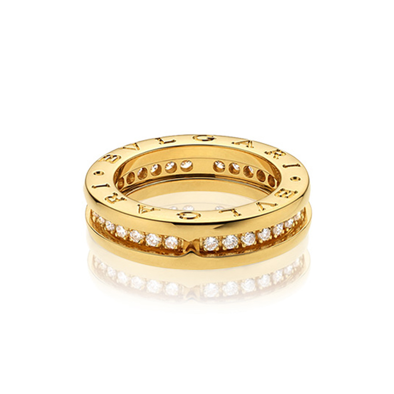 1-band Yellow Gold Ring with Diamonds