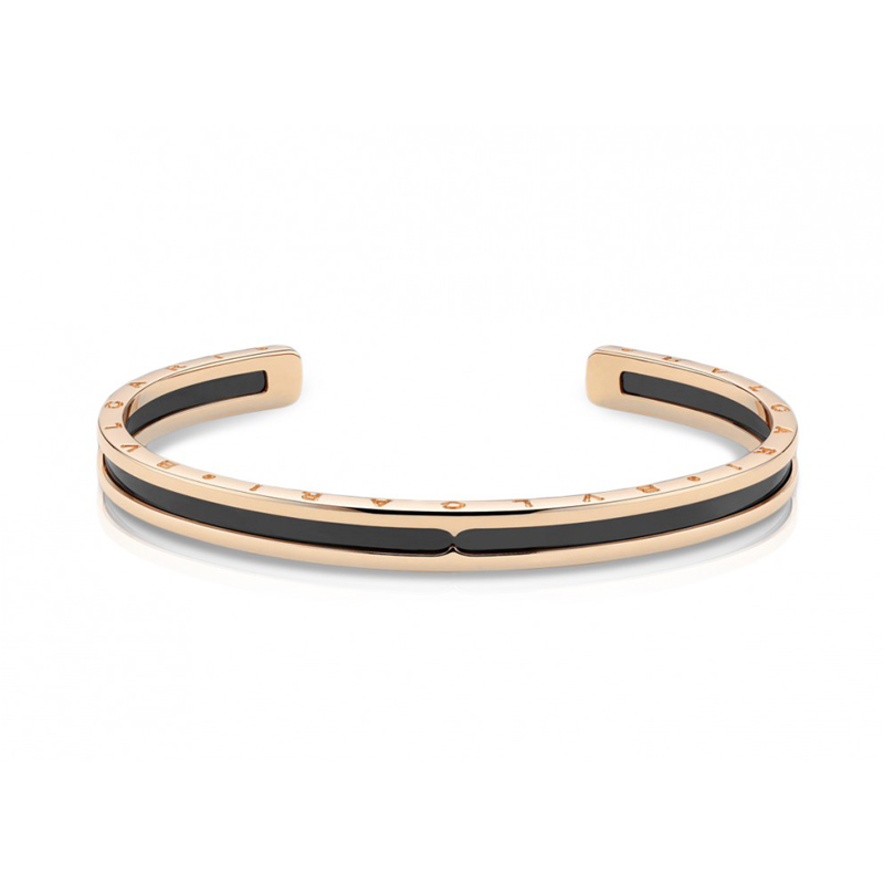 Bracelet in Pink Gold and Steel with Black Ceramic