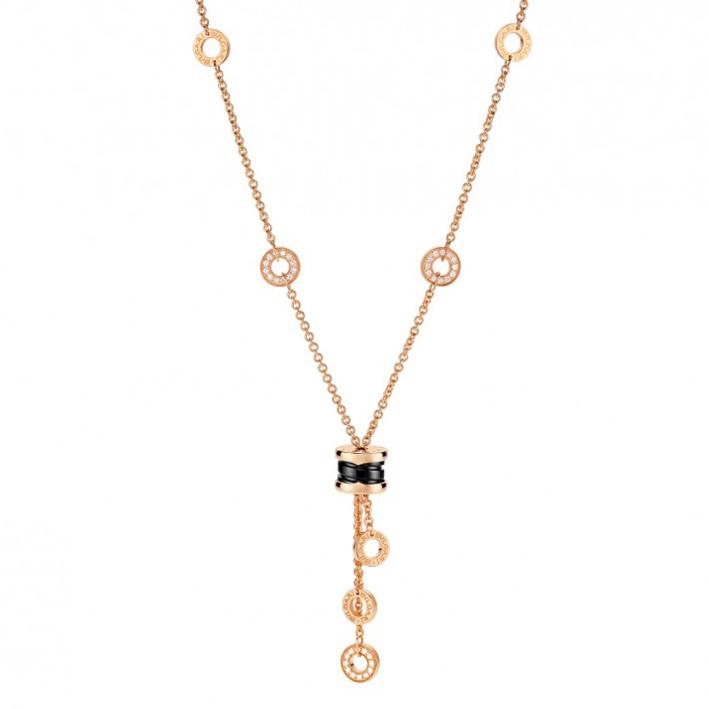 Collana in Oro Rosa, Ceramica Nera e Diamanti