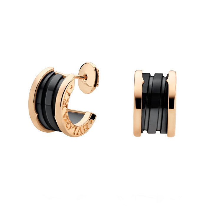 Pink Gold Earrings with Black Ceramic