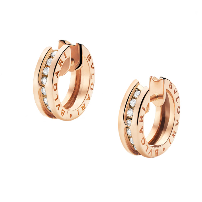 Pink Gold Earrings with Diamonds