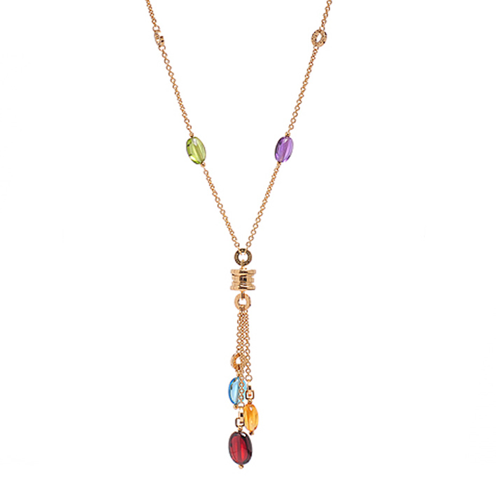 Yellow Gold Necklace with Gemstones