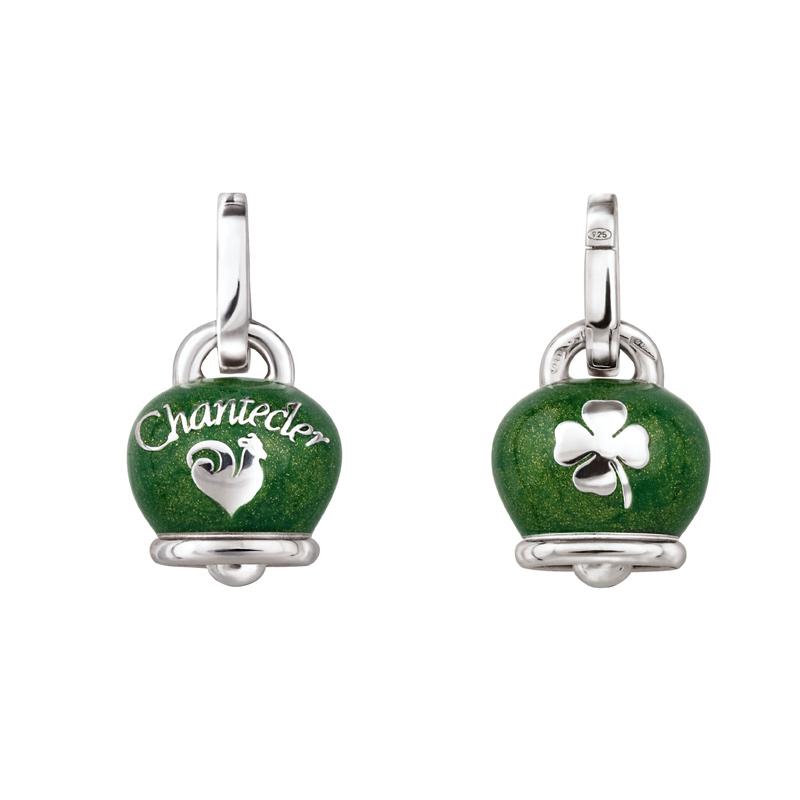Medium charm campanella in silver with green enamel