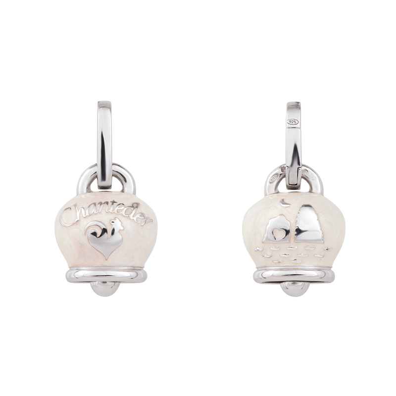 Medium charm campanella in silver with white enamel
