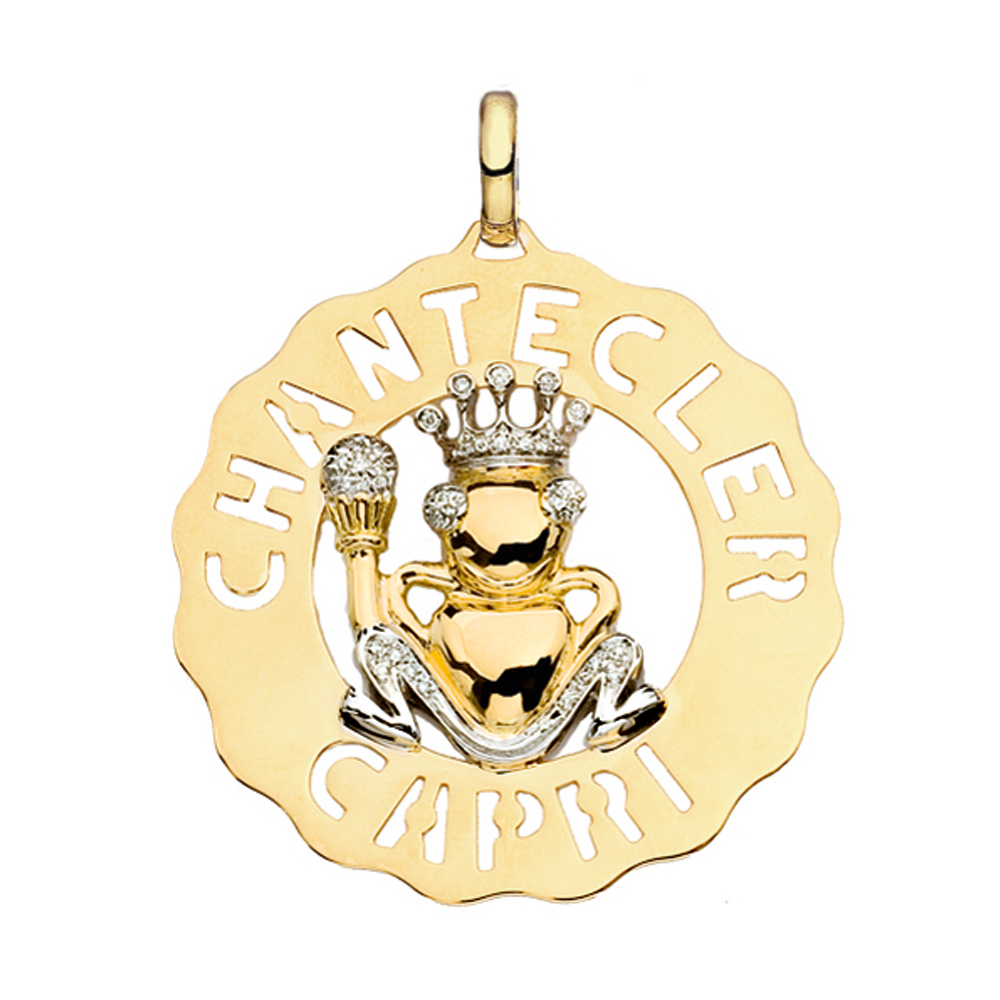 Ciondolo grande Principe Ranocchio in oro bianco e giallo con diamanti