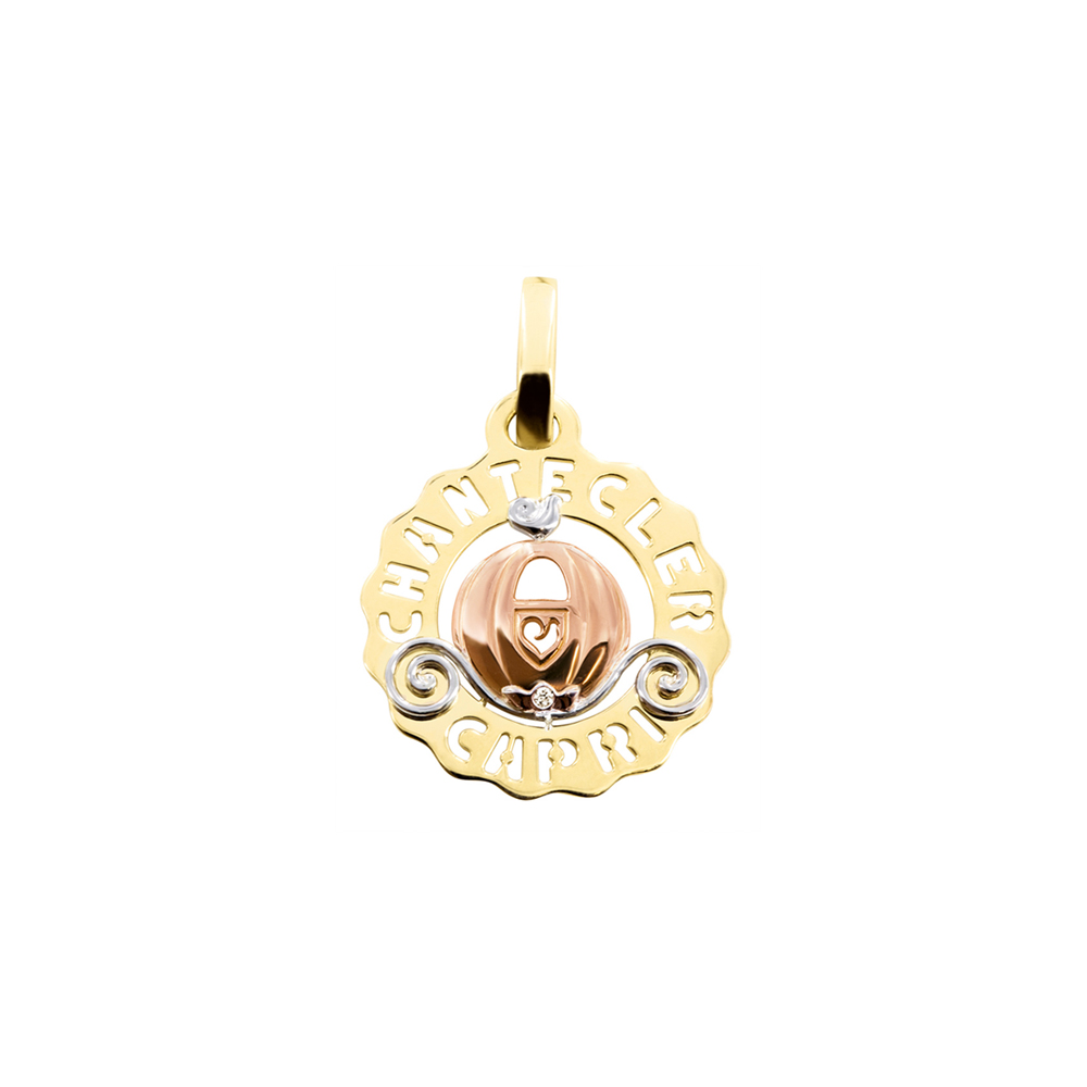 Small Carriage Charm set in yellow, pink and white gold and diamonds