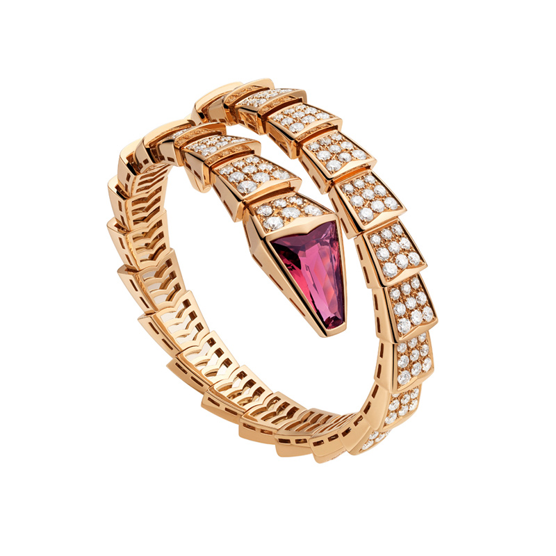 Pink gold bracelet with rubellite and diamonds