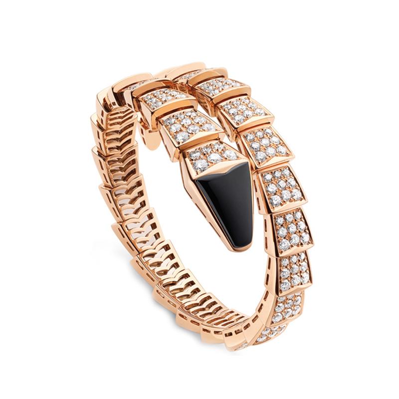 Bracciale in Oro Rosa Onice e Diamanti