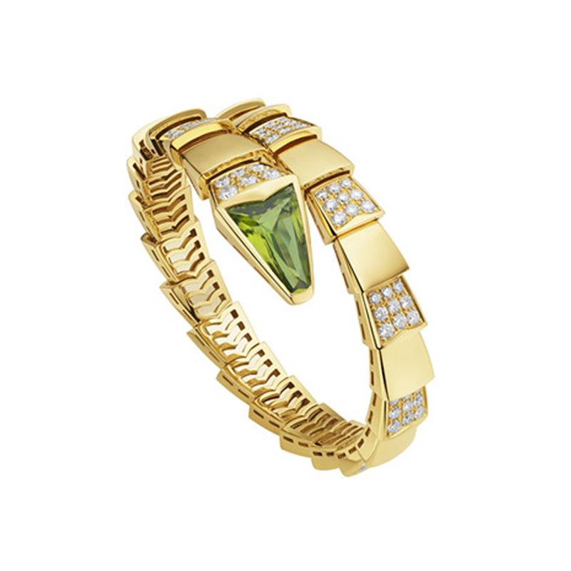 Yellow Gold Bracelet with Peridot and Diamonds