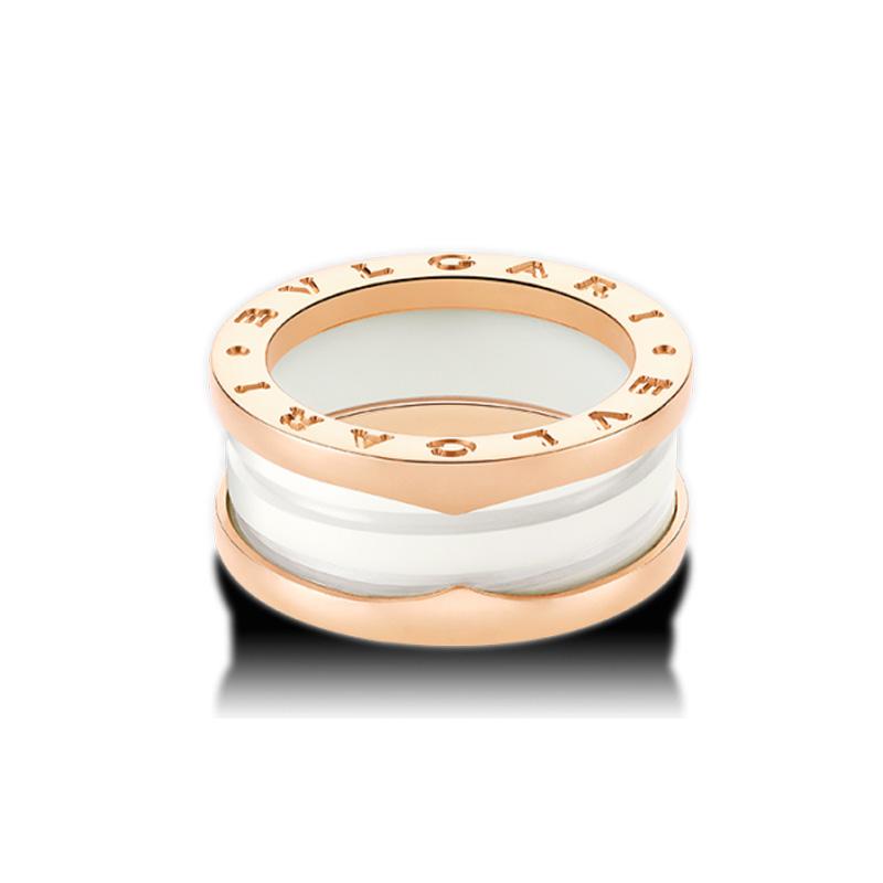 Anello B.zero1 in oro rosa 18 carati e ceramica bianca