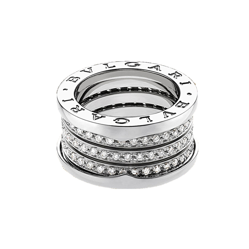 4-Band White Gold Ring with Diamonds