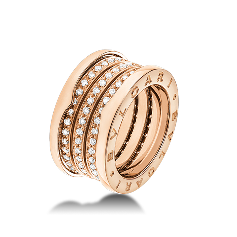 4-Band Pink Gold Ring with Diamonds