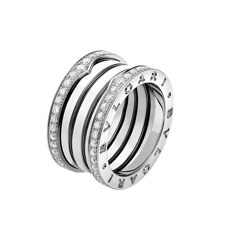 4-Band White Gold Ring with Diamonds on edges