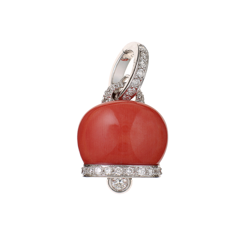Medium charm in white gold, diamonds and red coral