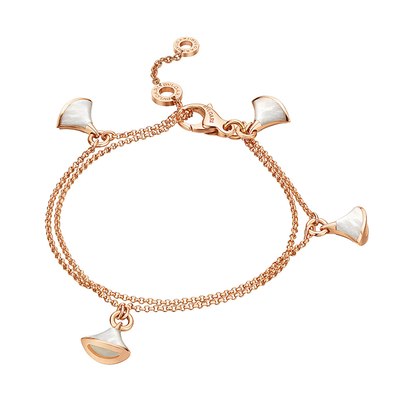Bracelet in pink gold with mother of pearl