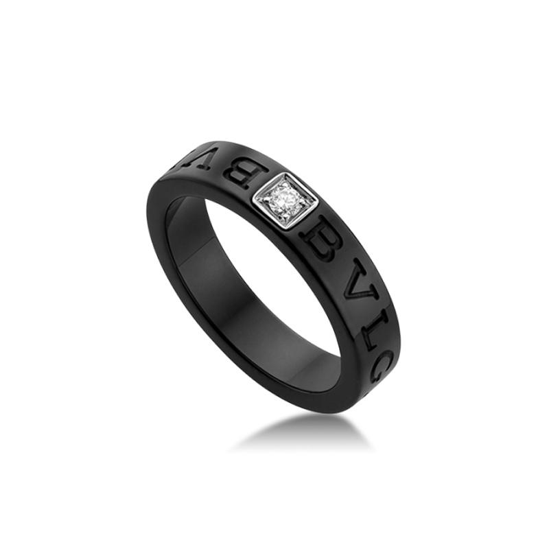 Black ceramic and diamond ring