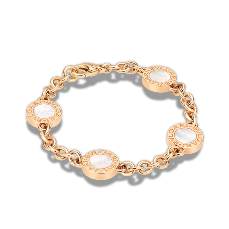 Pink gold bracelet with mother of pearl and onyx