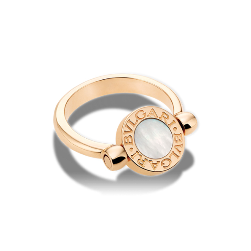 Flip pink gold ring with mother of pearl and onyx