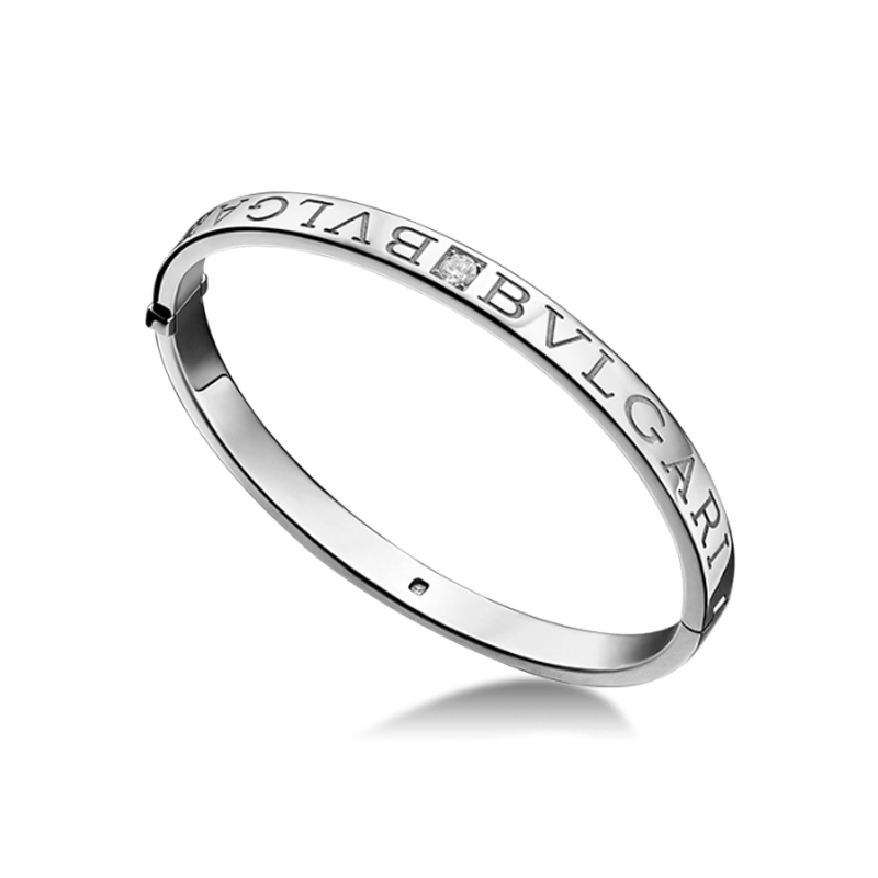 Bangle bracelet in white gold with diamonds