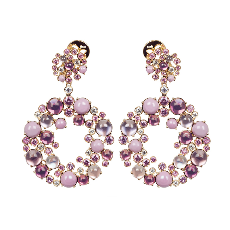 Pink gold earrings with amethyst