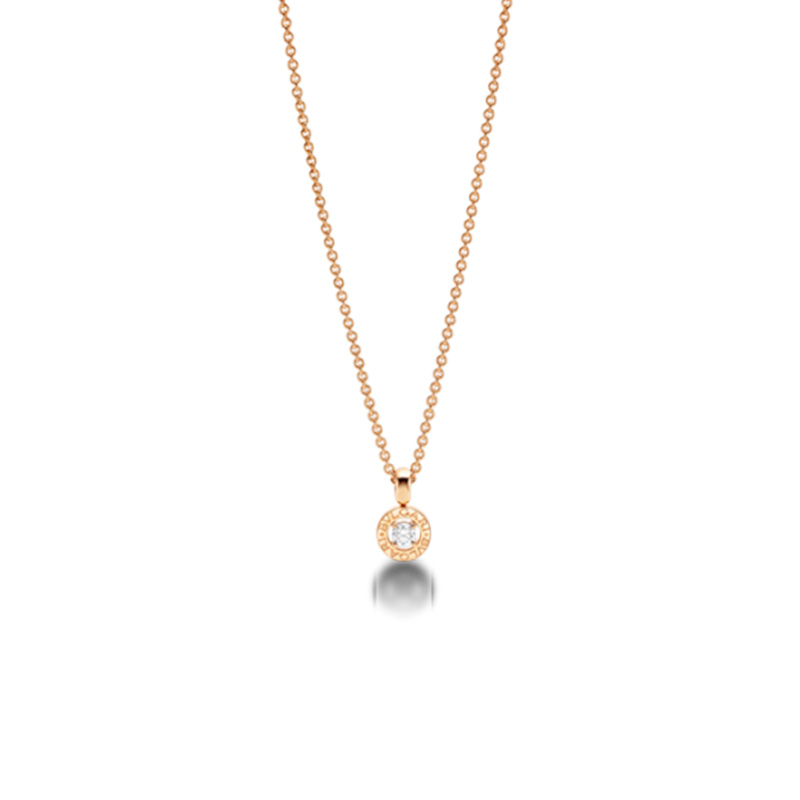 Pink gold necklace with diamond