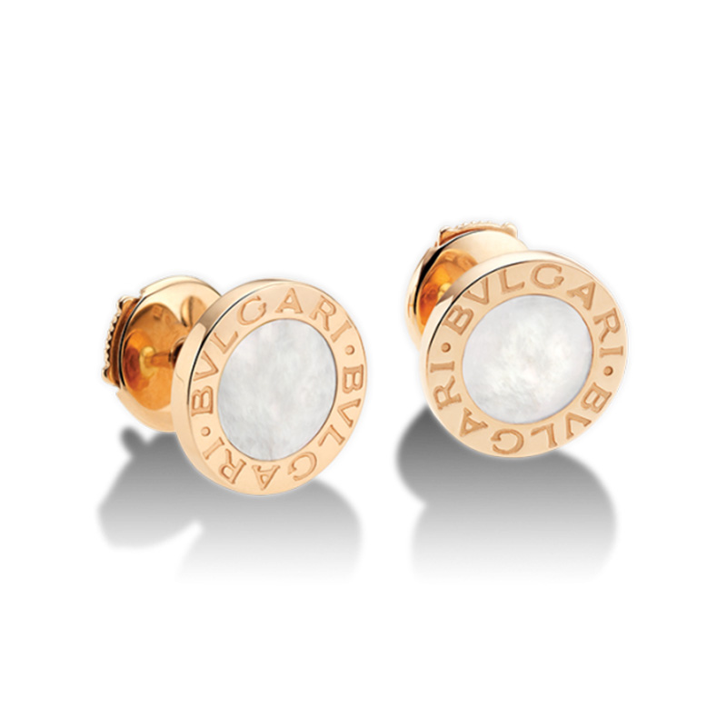 Pink gold earrings with mother of pearl