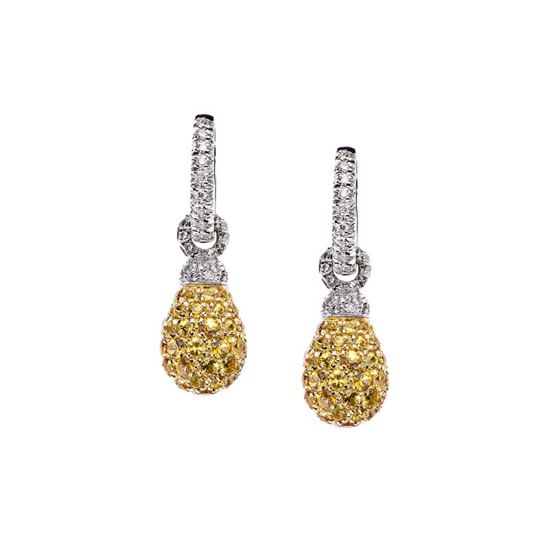 Short earrings set in white gold, diamonds and yellow sapphires pavé