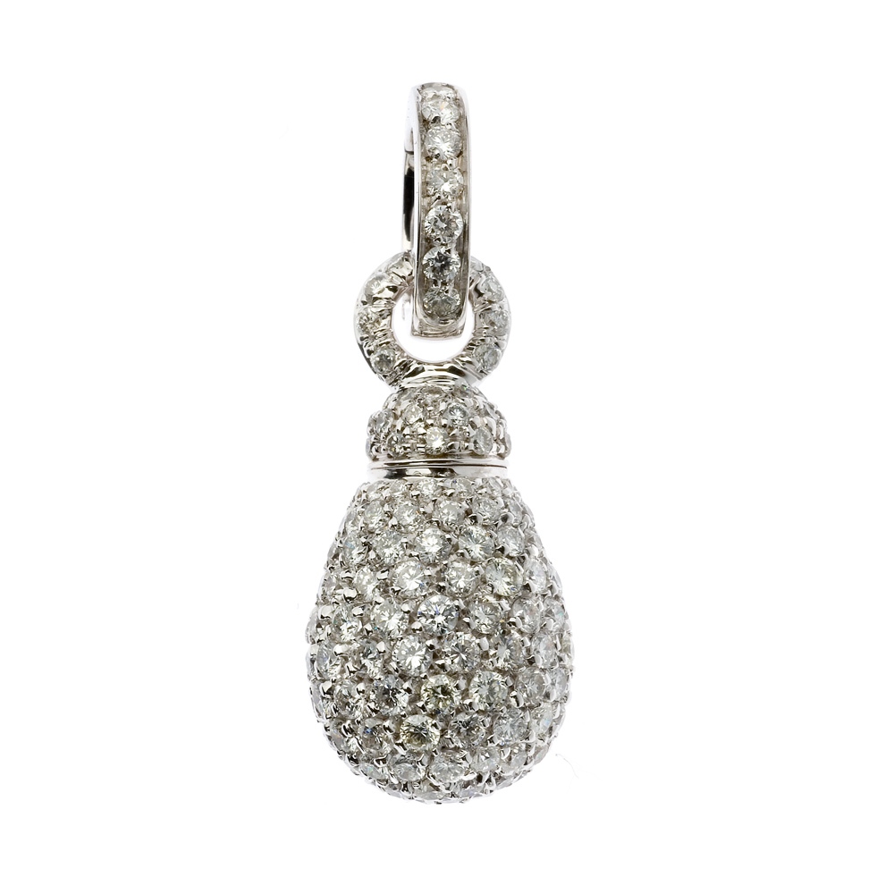 Charm set in white gold and diamonds pavé