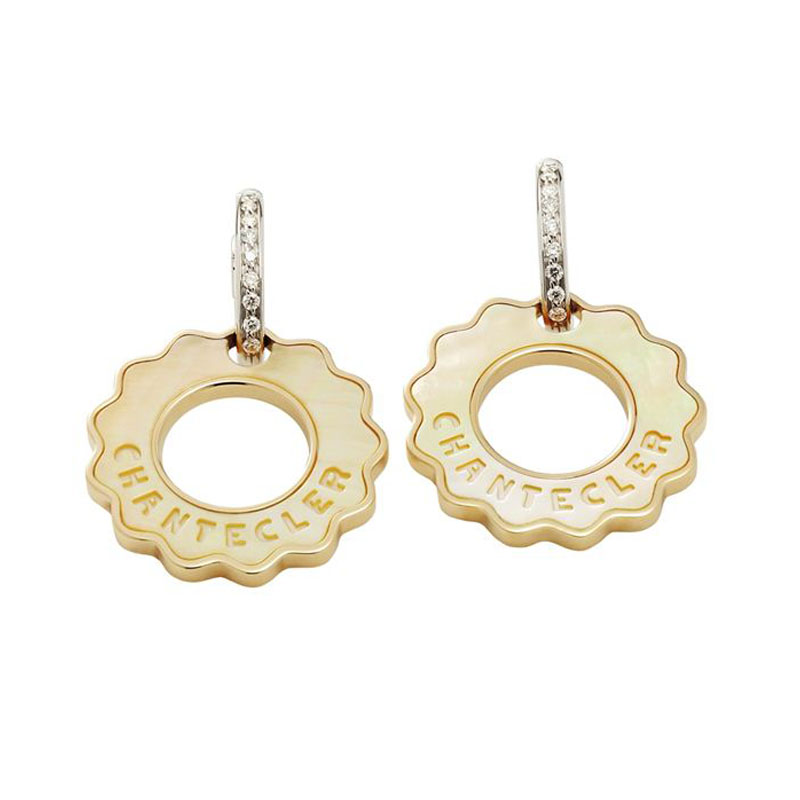 LOGO earrings in yellow gold, yellow mother-of-pearl and diamonds clasp