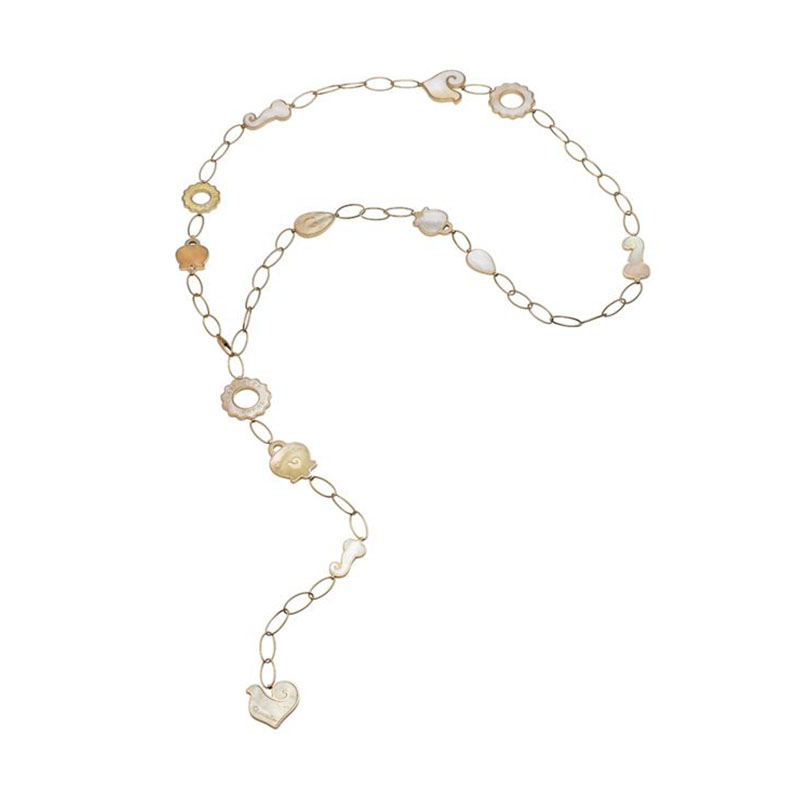 Long necklace (1 m) in yellow gold, with 13 symbols in yellow mother-of-pearl and diamonds