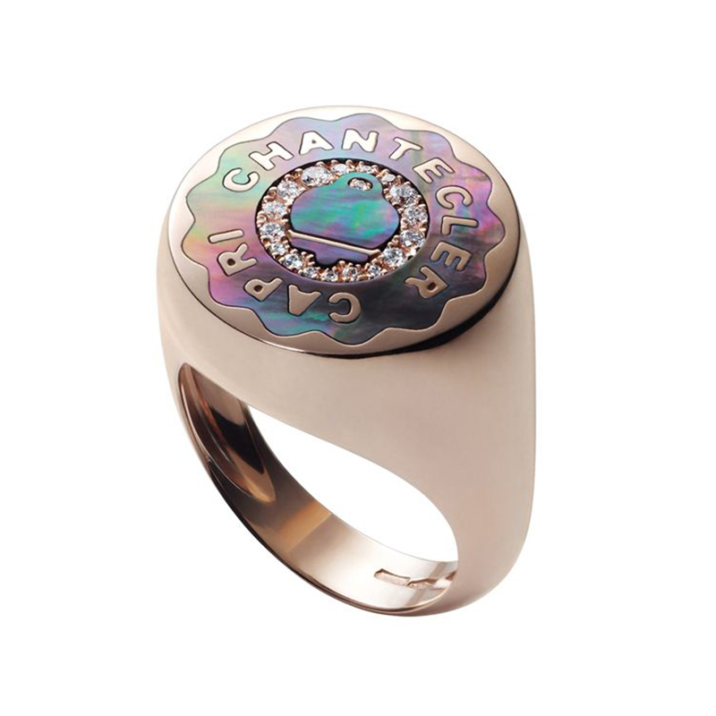 Ring in pink gold with grey mother of pearl and diamonds