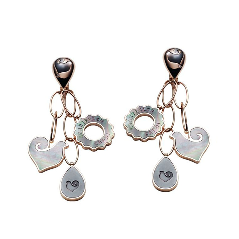 Earrings in pink gold, grey mother of pearl and diamond
