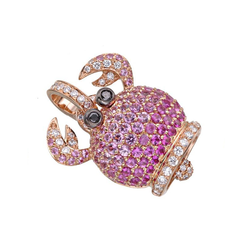Crab charm set in pink gold, pink sapphires, black diamonds and diamonds