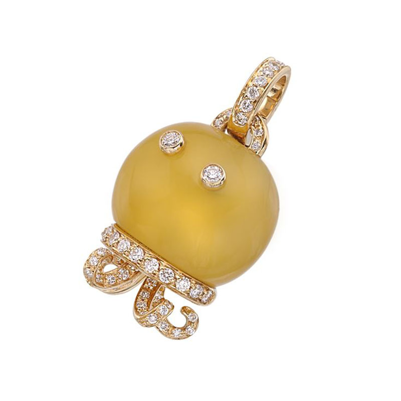 Octopus charm set in yellow gold, yellow chalcedony and diamonds