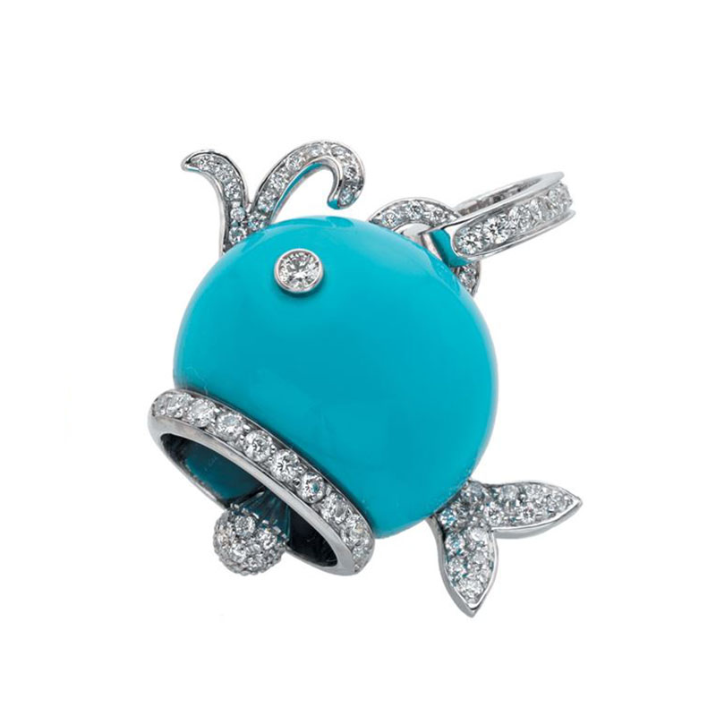 Whale Charm set in white gold, turquoise and diamonds