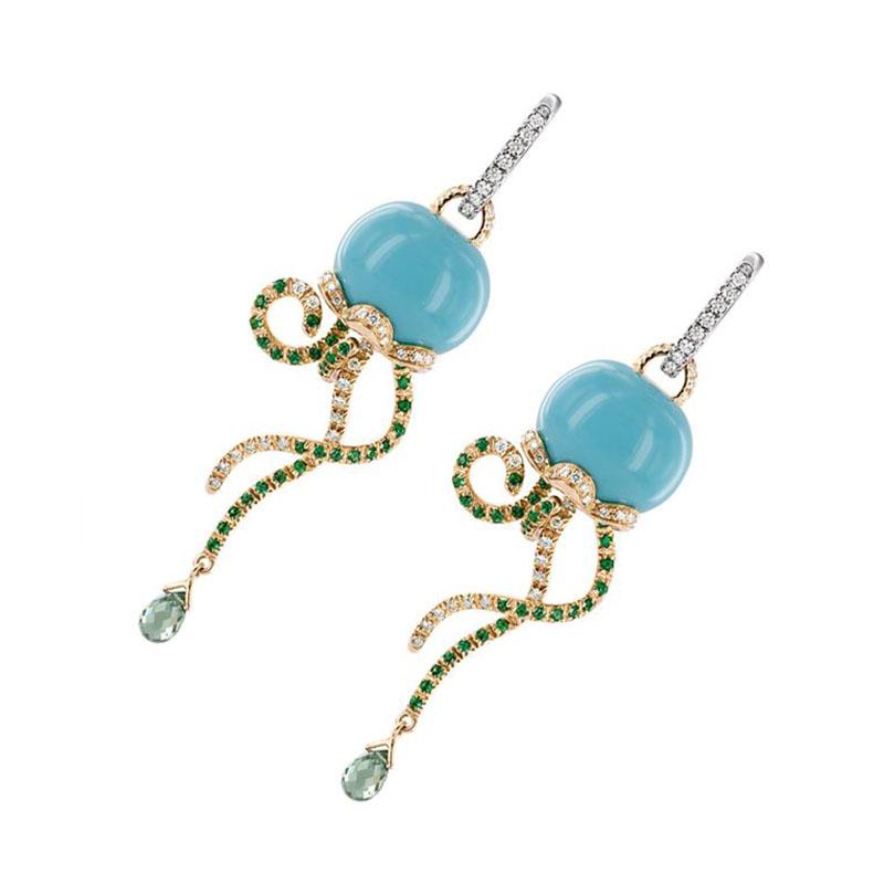 Orecchini Medusa in oro giallo e bianco, diamanti, smeraldi, zaffiri e turchese