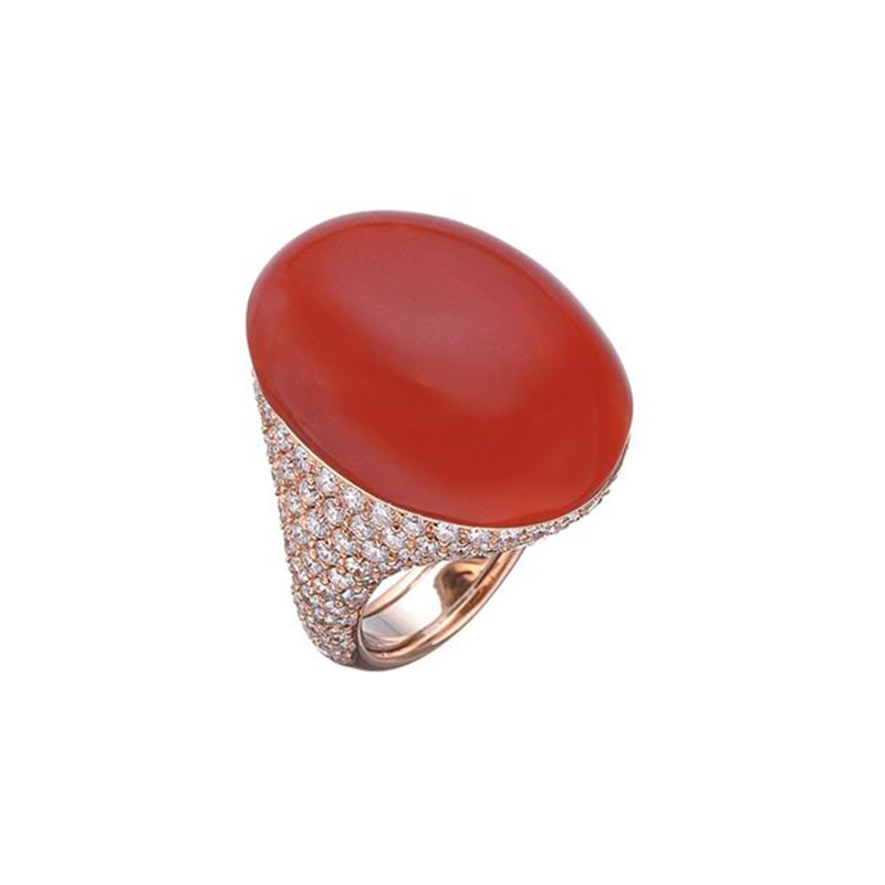 Ring set in pink gold, red coral and diamonds pavé