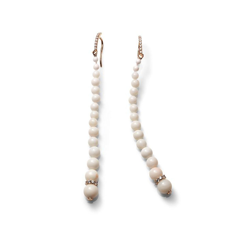Long earrings with degrading white coral and diamond washer