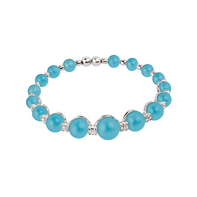 Spring bracelet set in white gold, turquoise and diamonds
