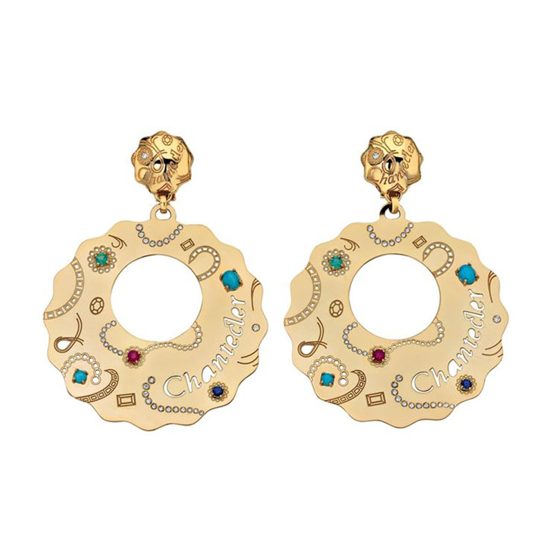 Earrings set in yellow gold and turquoise, sapphires, rubies, emeralds and diamonds