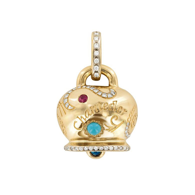 Maxi Campanella charm set in yellow gold and turquoise, sapphires, rubies and diamonds