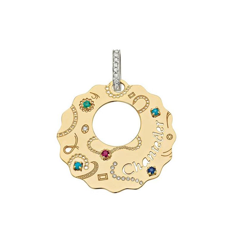 Ciondolo medio in oro giallo con turchese, zaffiri, rubini, smeraldi e diamanti