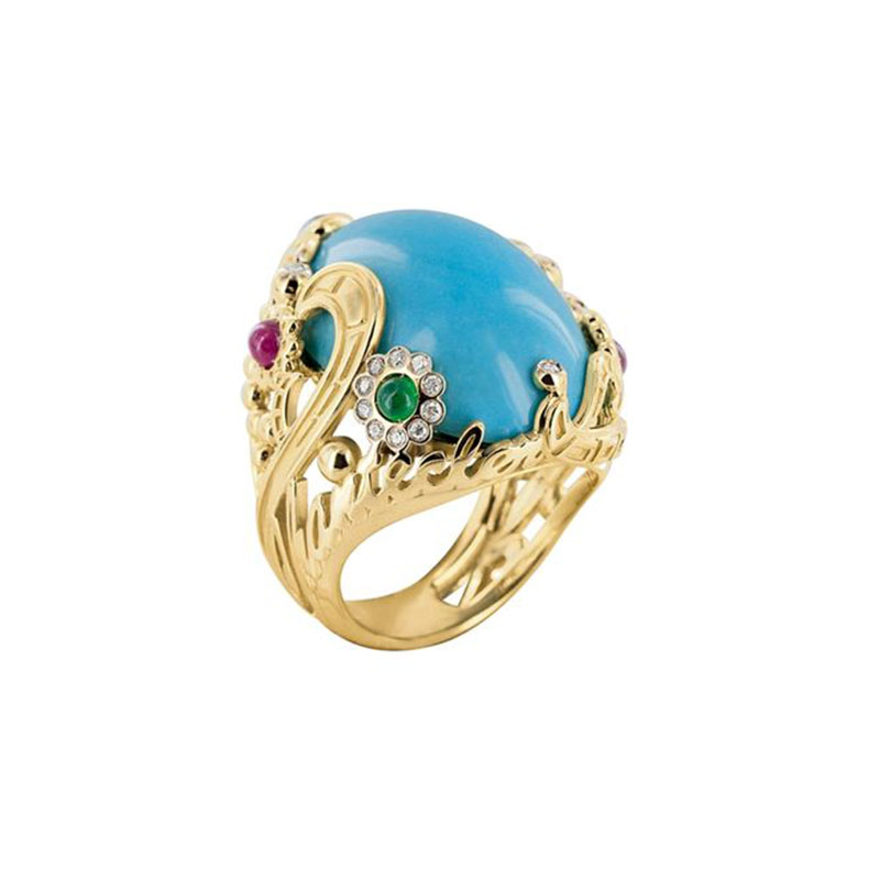 Ring set in yellow gold with turquoise and sapphires, rubies, emeralds and diamonds