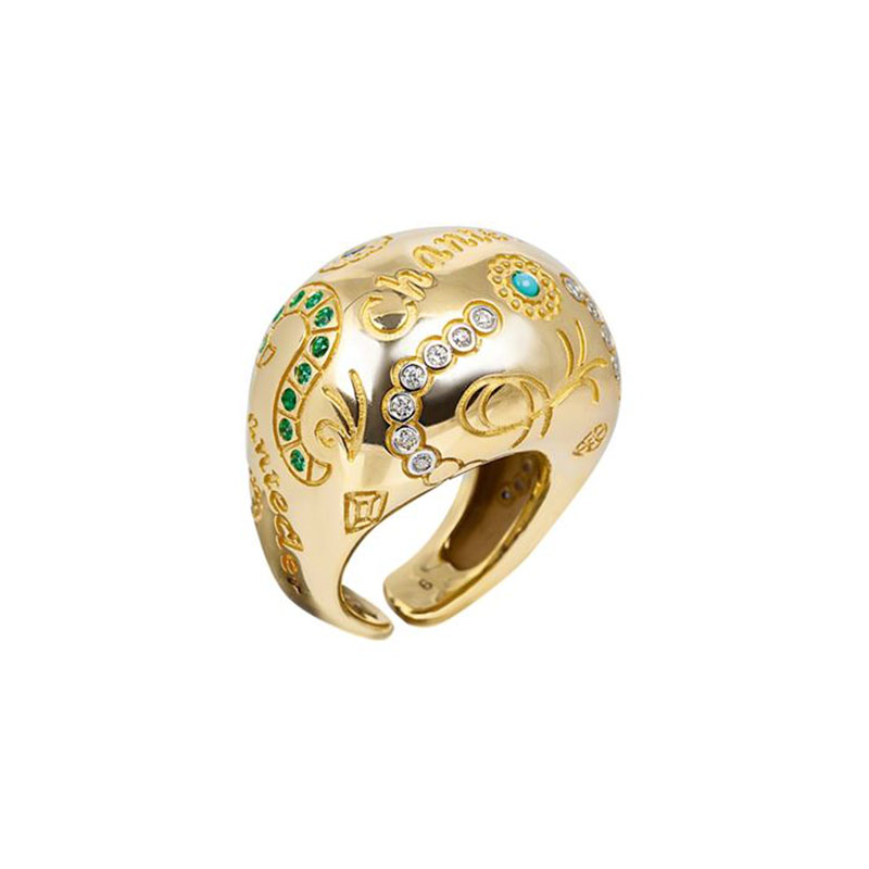 Large band ring set in yellow gold, turquoise, sapphires, rubies, emeralds and diamonds