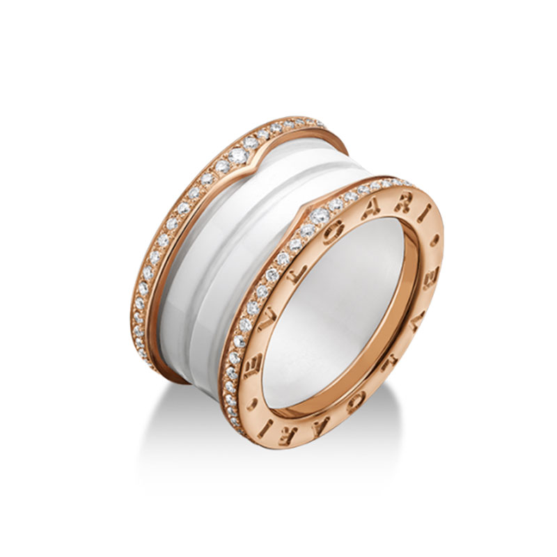 4 band ring in rose gold with white ceramic and diamonds