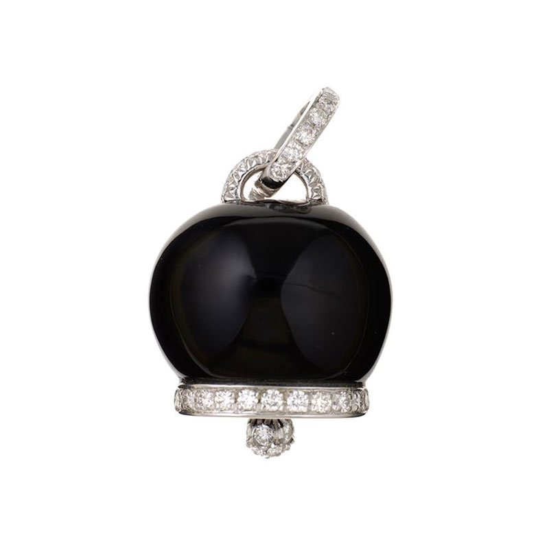Large charm set in white gold, diamonds and onyx